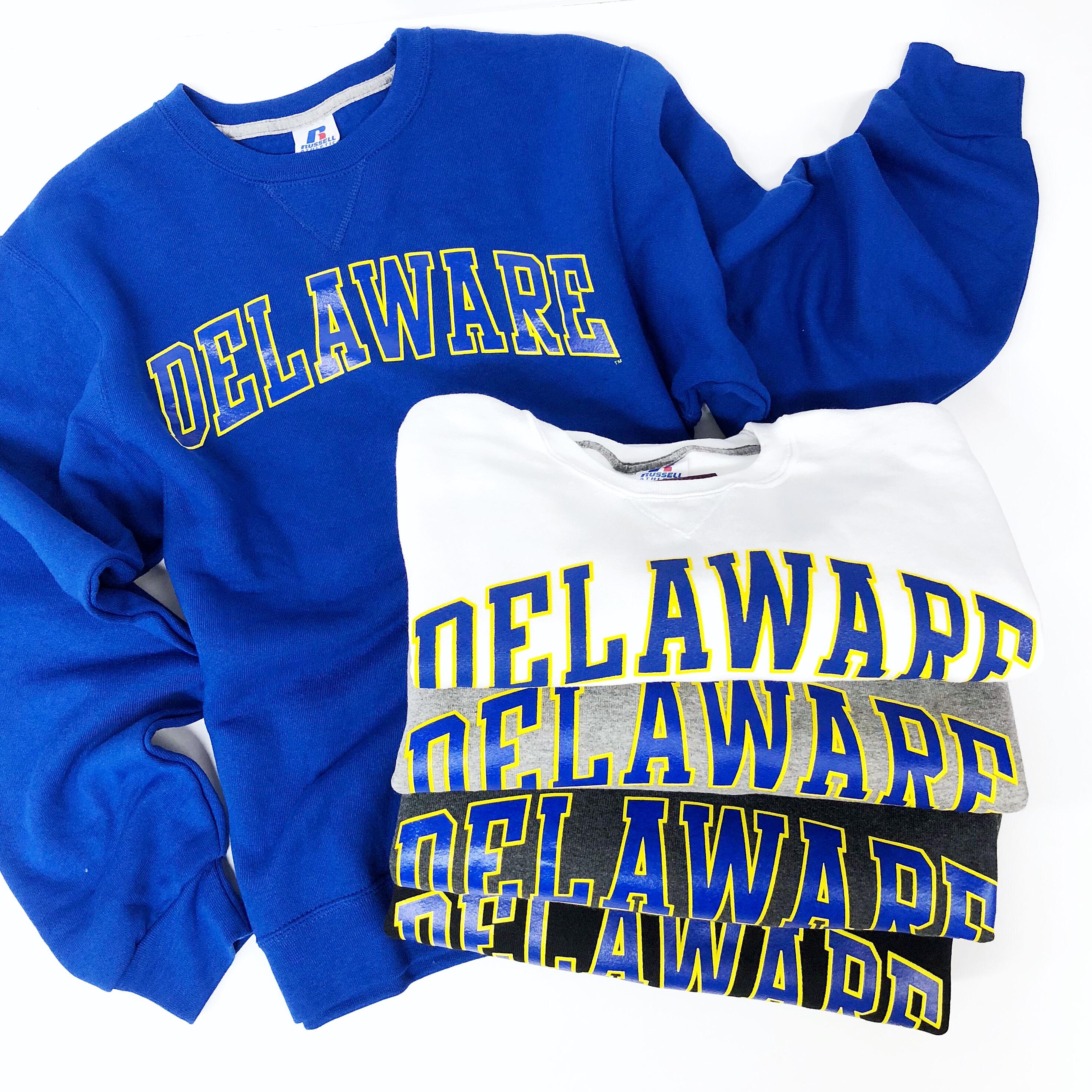 76527365 University of Delaware Arched Delaware Crew Neck Sweatshirt ...