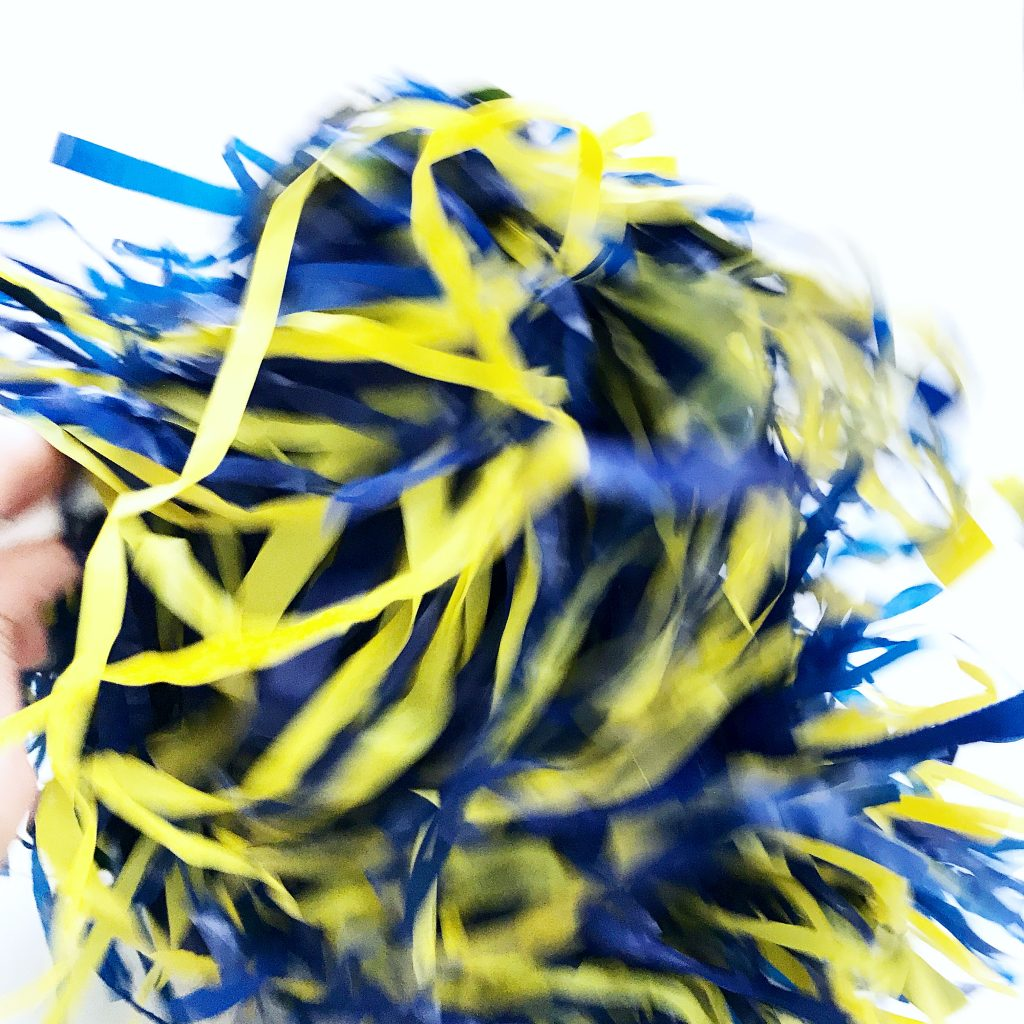 University of Delaware blue and yellow spirit pom-pom