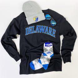 University of Delaware Long Sleeve Arched Delaware T-shirt - Black