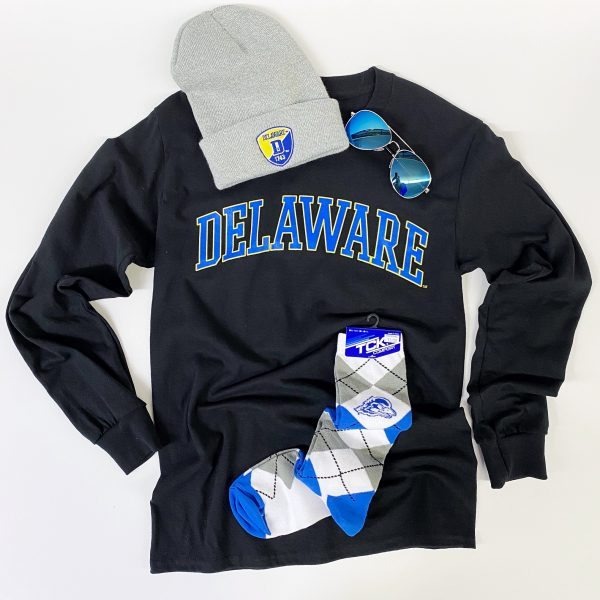 University of Delaware Long Sleeve Arched Delaware T-shirt - Black