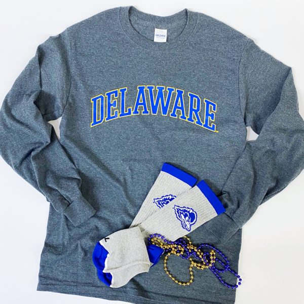 University of Delaware Long Sleeve Arched Delaware T-shirt -Charcoal
