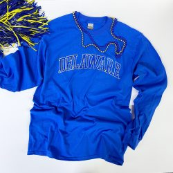 University of Delaware Long Sleeve Arched Delaware T-shirt - Royal