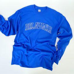 University of Delaware Long Sleeve Arched Delaware T-shirt - Royal Blue