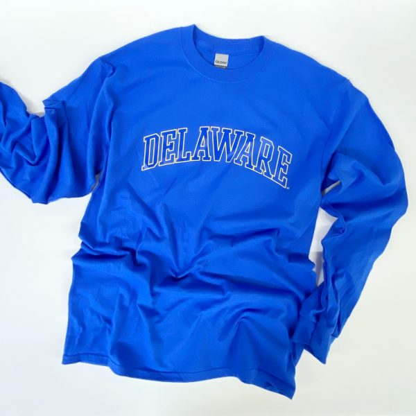 University of Delaware Long Sleeve Arched Delaware T-shirt - Royal Blue