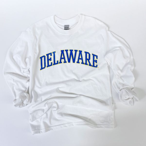 University of Delaware Long Sleeve Arched Delaware T-shirt - White