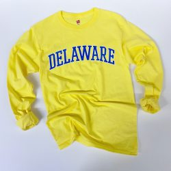 University of Delaware Long Sleeve Arched Delaware T-shirt - Yellow