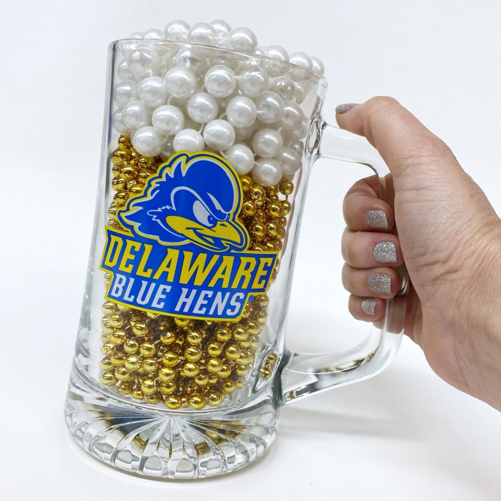 Photo of printed University of Delaware glass beer mug