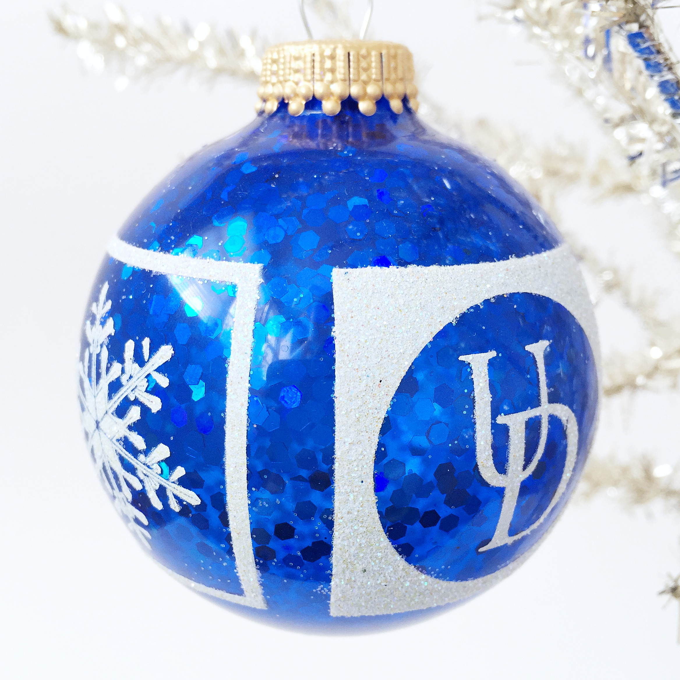 University Of Delaware Blue Glitter Snowflake Glass Ball Christmas Ornament