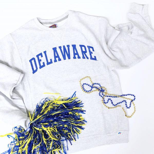 74f85702 University of Delaware Arched Delaware Crew Neck Sweatshirt – Ash
