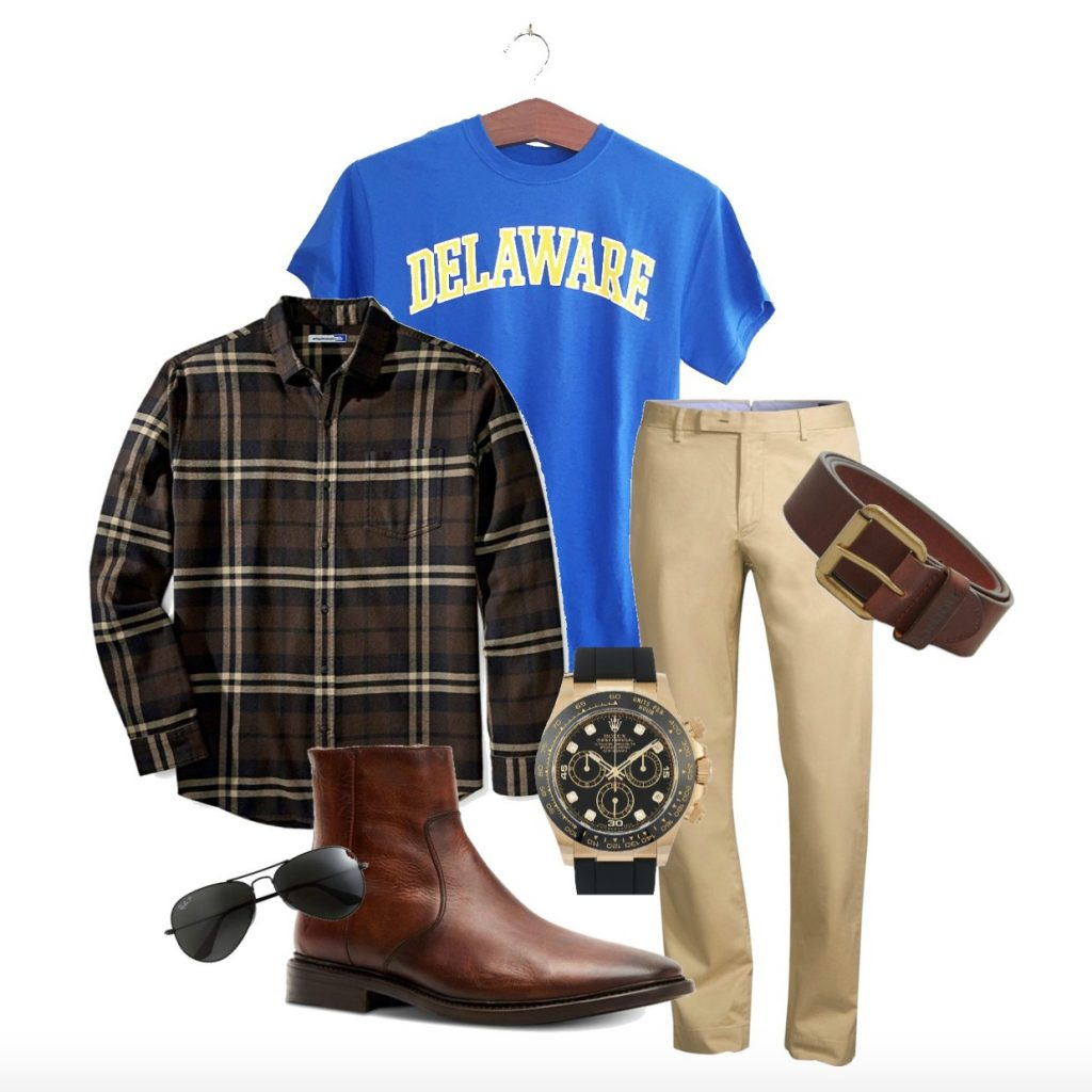 Casual men's look featuring royal blue Arched Delaware t-shirt paired with khakis, and warm brown & black accessories.