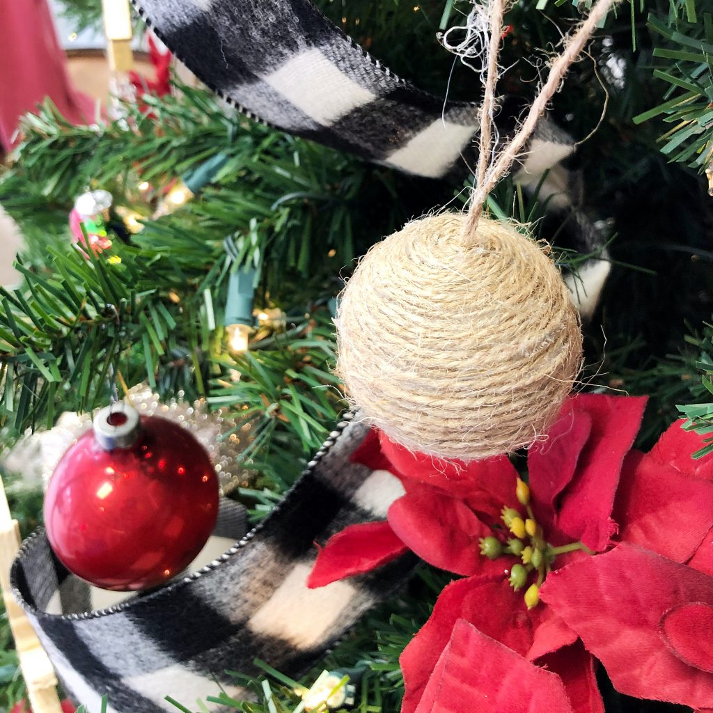 Finished twine ornament on the tree.