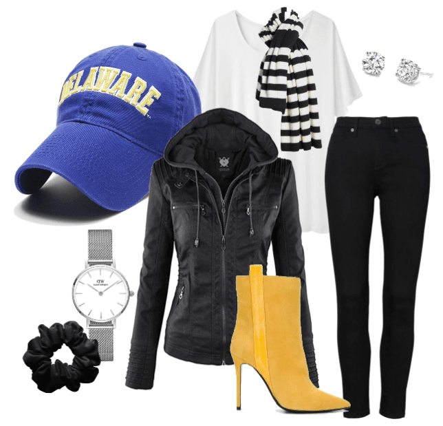 Sporty look featuring black and white basics with pops of royal blue Arched Delaware ball cap and yellow boots.
