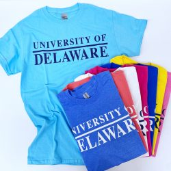 University of Delaware Skittles Short Sleeve T-shirts in Bright Colors