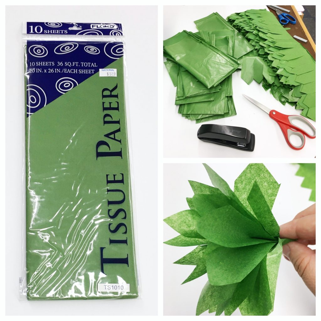 Supplies to make tissue paper topiaries including tissue paper, scissors and stapler.