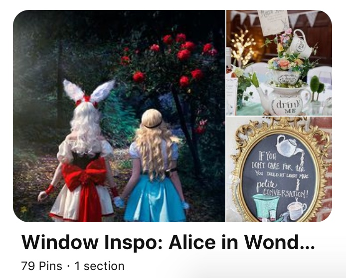 Link to Alice in Wonderland themed Pinterest Board