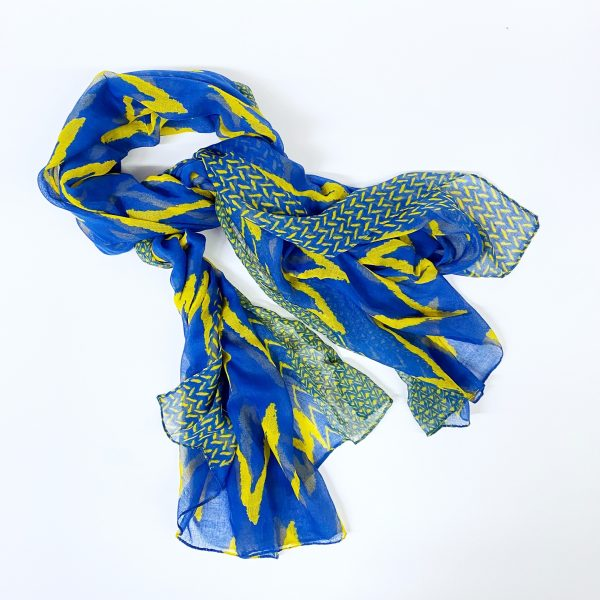 Blue and Yellow Chevron Scarf