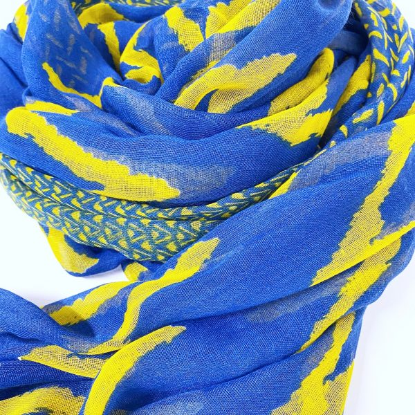Detail of Blue and Yellow Chevron Scarf