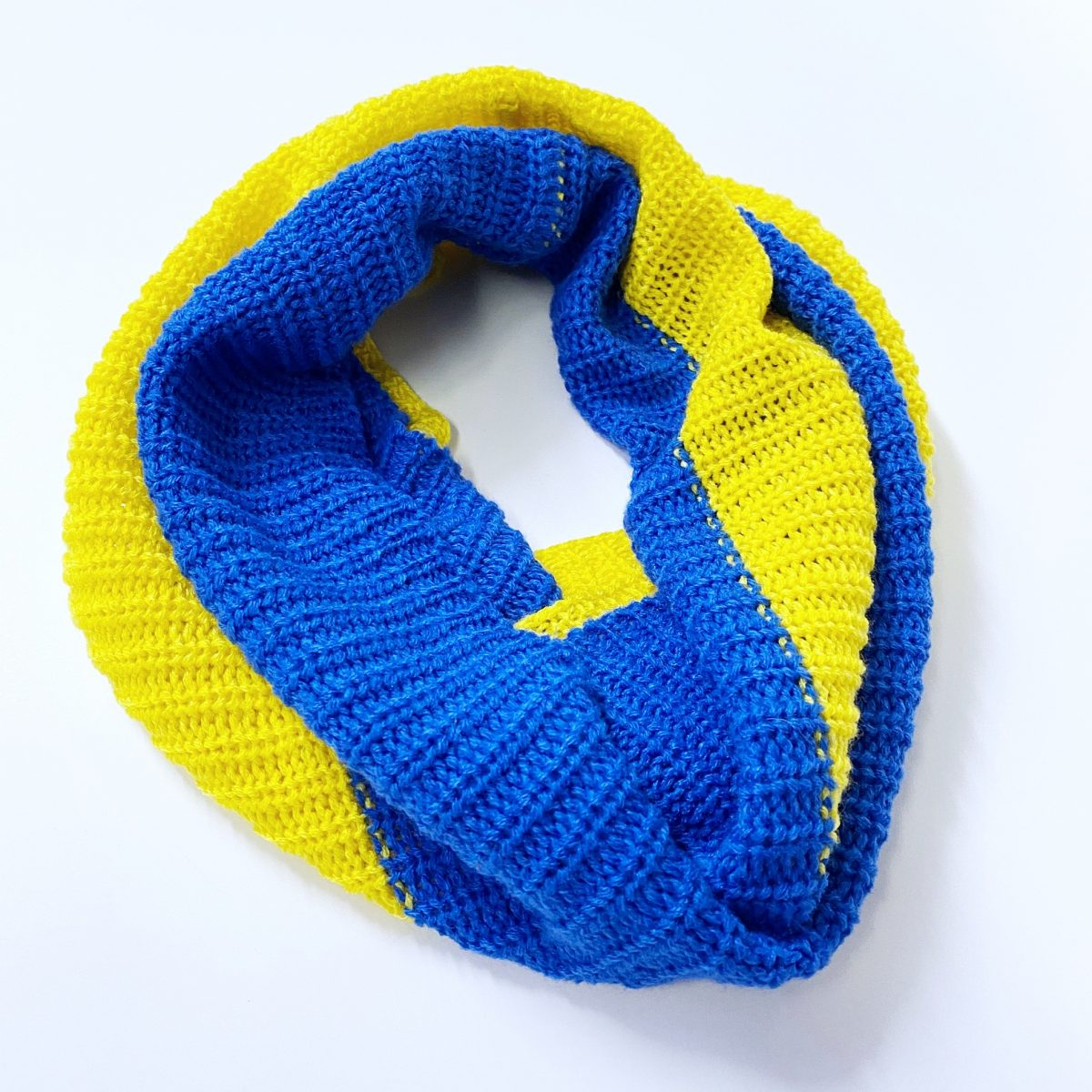 Blue and Yellow Knit Infinity Scarf