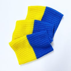 Folded Blue and Yellow Knit Infinity Scarf
