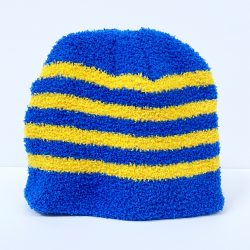 Blue and Yellow Striped Beanie Hat