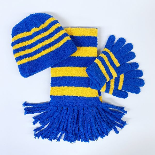 Blue and Yellow Striped Hat, Gloves and Scarf Set