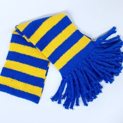 Blue and Yellow Striped Scarf
