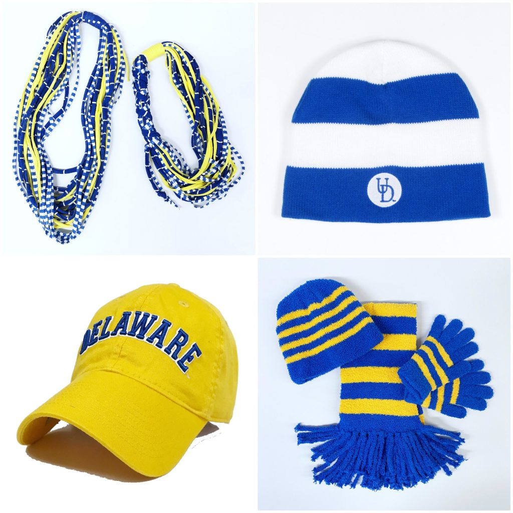 Assortment of different University of Delaware hats and scarves.