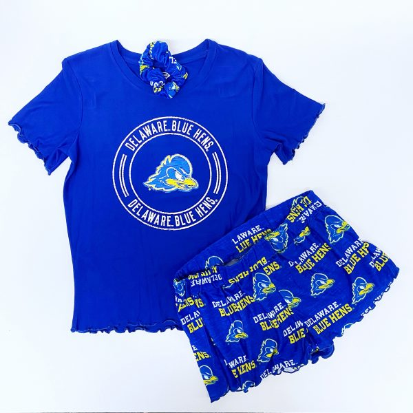 University of Delaware Women's T-shirt and Short Set with Scrunchie