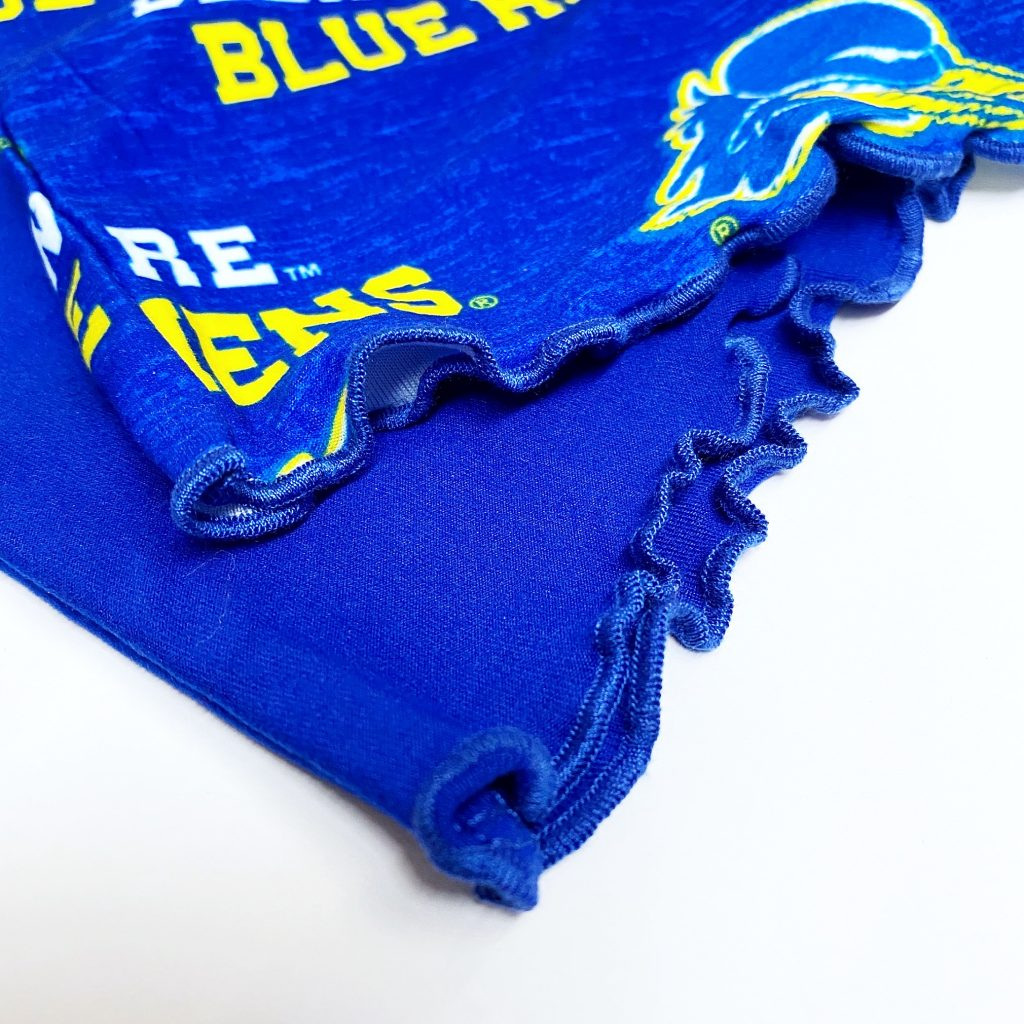 Detail of University of Delaware Women's T-shirt and Short Set with Scrunchie
